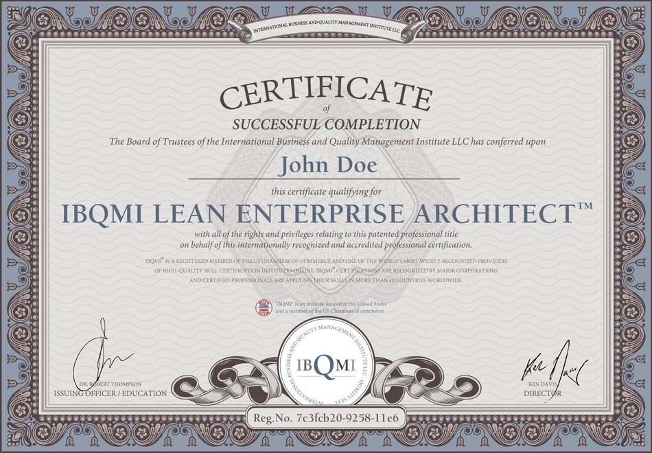 certificate for IBQMI LEAN ENTERPRISE ARCHITECT™