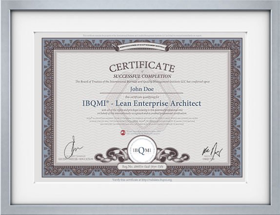 certificate for IBQMI® Lean Enterprise Architect